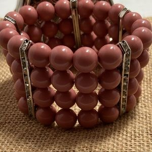 Quadruple Layer Dusty Rose Bangle Bracelet